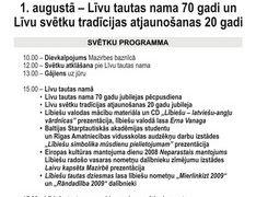 2009. GADA LĪVU SVĒTKU PROGRAMMA