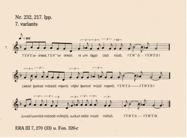 """A song about the waking of birds in Oskar Lorits' book """"Volkslieder der Liven"""", p. 217"""