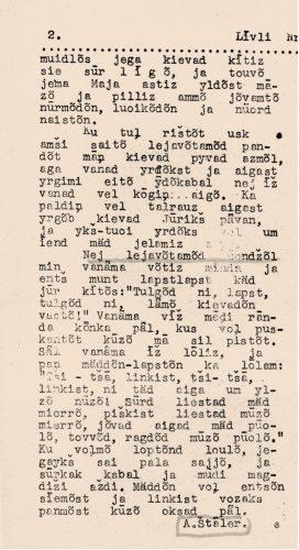"Andrejs Štālers' story ""Spring Christmas tree"" in the newspaper's ""Līvli"" No.3 in 1938"
